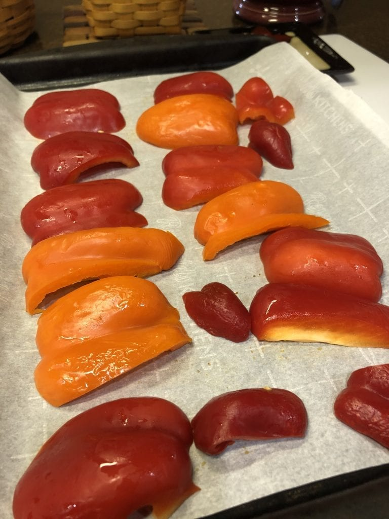 Red Peppers going in the oven