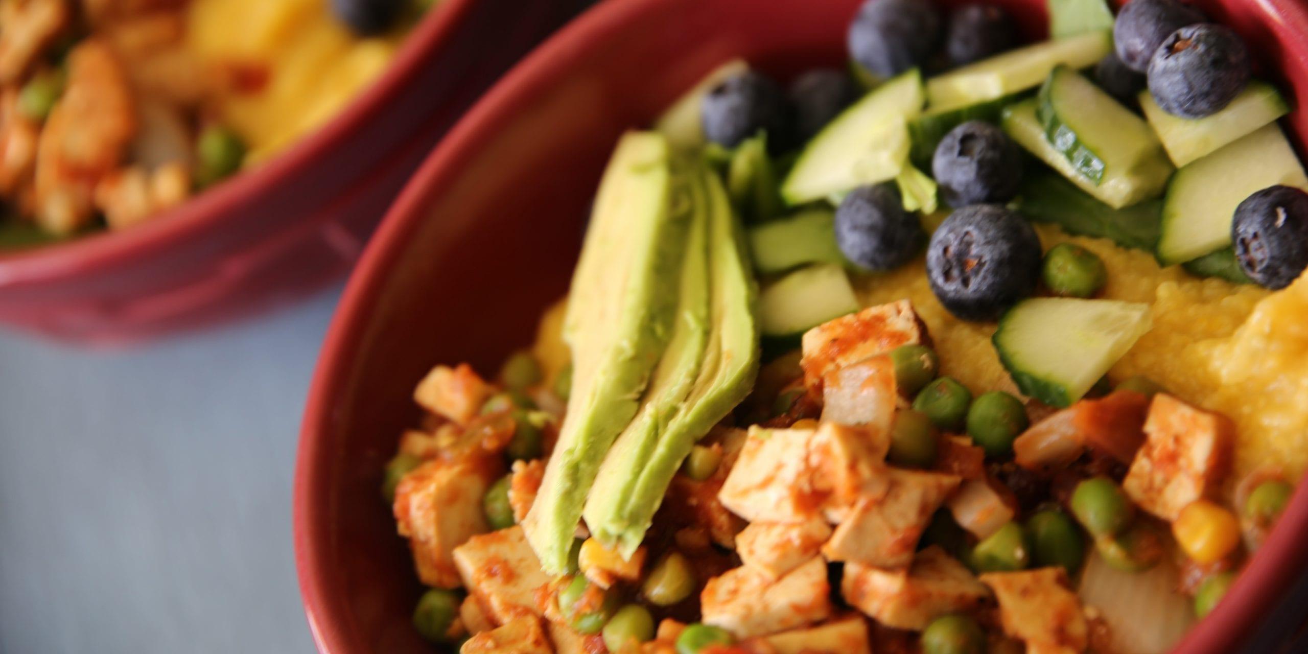 Quick Polenta Tofu Comfort Food Bowl