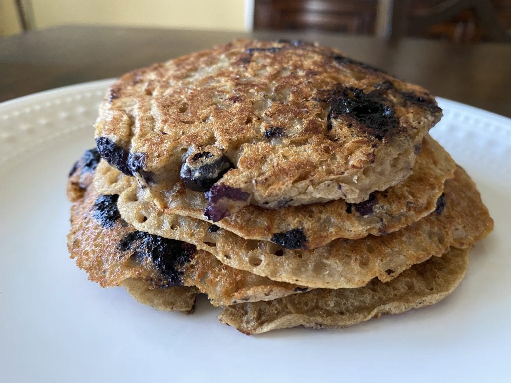 Final product of a healthy and nutritious blueberry vegan pancake!