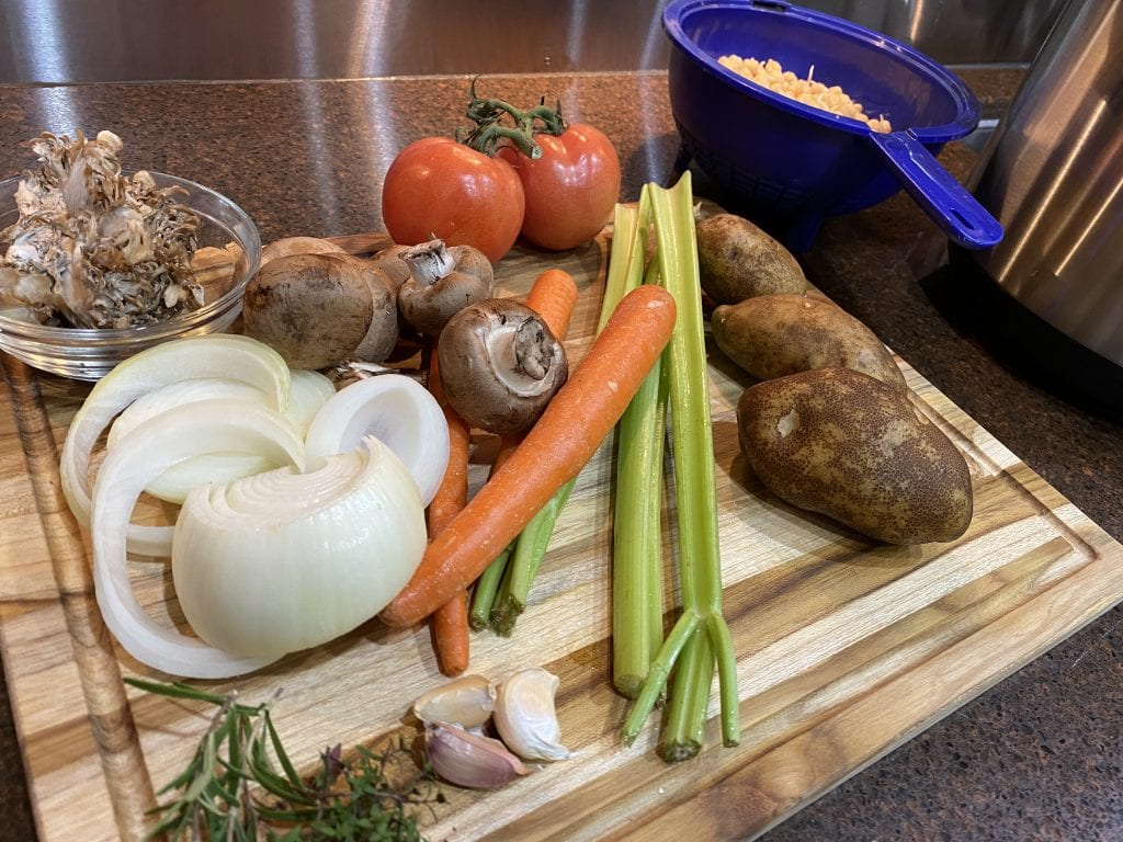 Sprouted Chickpea Mushroom Stew Vegetables Ingredients Preparation