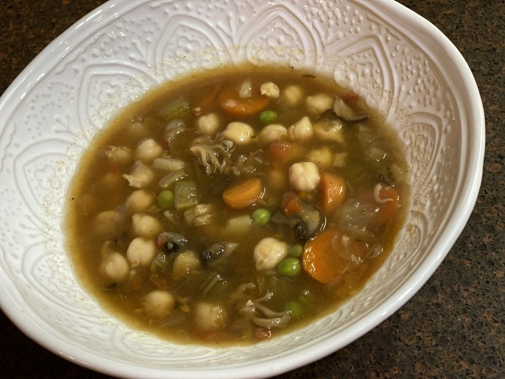 A Sprouted Chickpea Mushroom Stew comfort food that will touch your soul with it's goodness.
