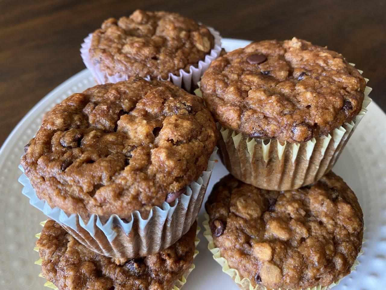 Vegan Banana Oat Chocolate Chip Muffins