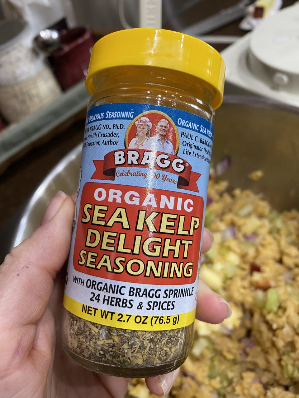 "Ingredients for Vegan ""Tuna"" Salad Bragg Organic Seakelp Delight Seasoning"