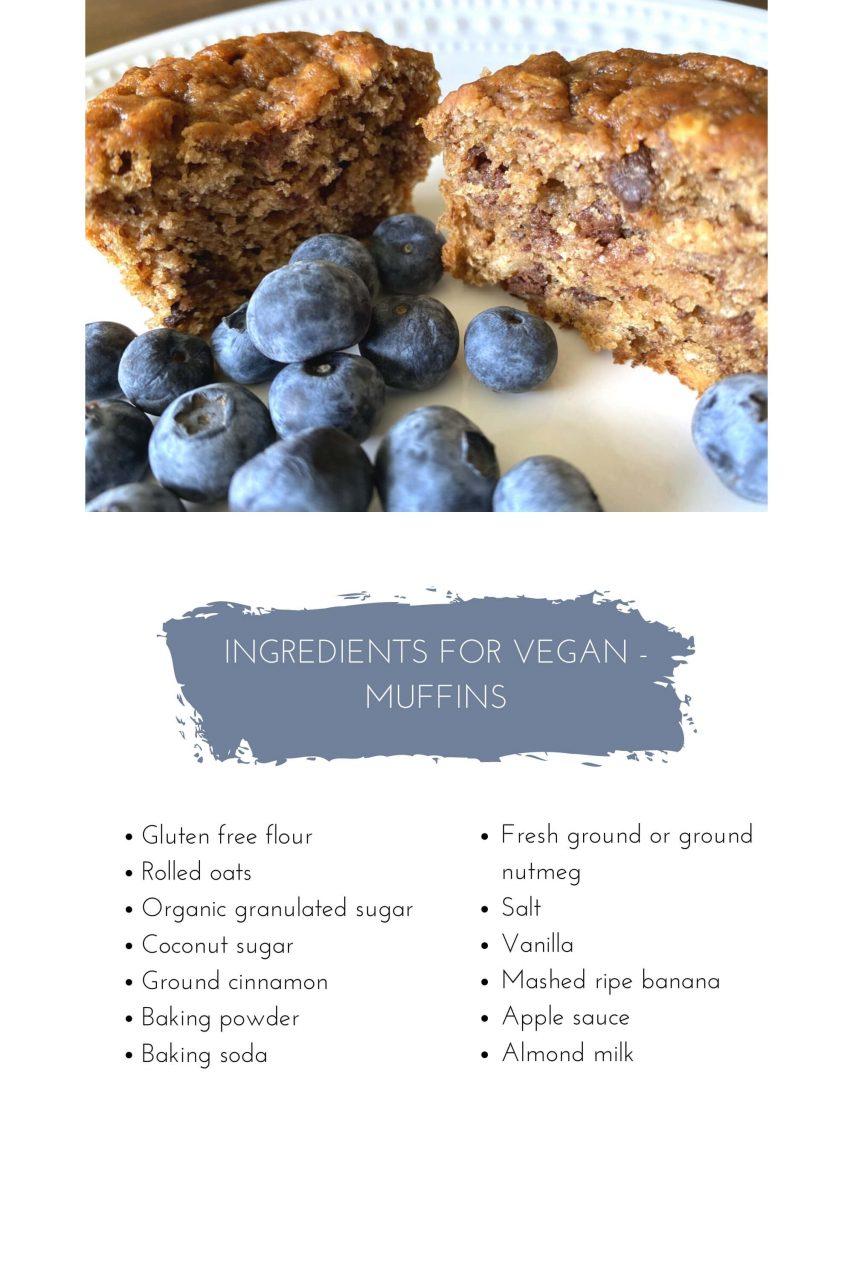 vegan banana muffins ingredients