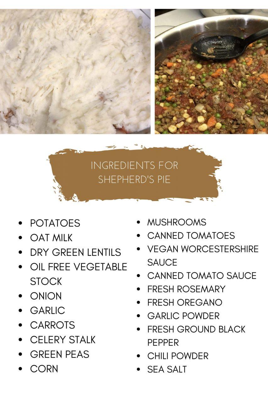 Vegan Shepherds Pie Ingredients